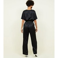 Black Leopard Jacquard Button Front Jumpsuit New Look