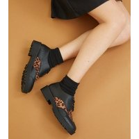 Black Leopard Print Panel Chunky Shoes New Look