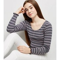 Girls Pink Stripe Long Sleeve T-Shirt New Look