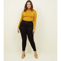 Curves Mustard Long Sleeve Roll Neck Top New Look