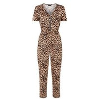 Brown Leopard Print Zip Up Soft Touch Jumpsuit New Look