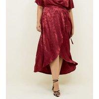 Curves Burgundy Floral Satin Dip Hem Dress New Look