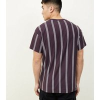 Mens Dark Purple Vertical Stripe Alpha Embroidered T-Shirt New Look