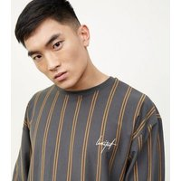Men's Khaki Stripe Limited Embroidered Long Sleeve T-Shirt New Look