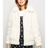 White Teddy Borg Pocket Front Jacket New Look