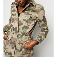 Olive Green Camo Print Utility Jacket New Look