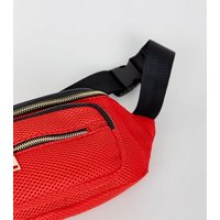 Red Mesh Bum Bag New Look