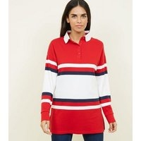 Red Colour Block Rugby Top New Look