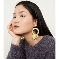 Yellow Floral Wrapped Hoops New Look