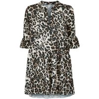 Cameo Rose Crepe Leopard Print Smock Dress New Look