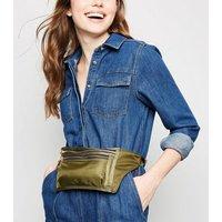 Khaki High Shine Rectangle Bum Bag New Look