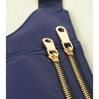 Navy High Shine Rectangle Bum Bag New Look