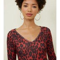 Red Leopard Print Fine Knit Bodysuit New Look