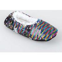 Rainbow 2-Way Sequin Fluffy Ballet Slippers New Look