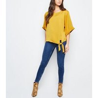 mustard-satin-tie-front-blouse-new-look