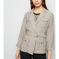 Petite Stone Safari Belted Jacket New Look