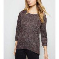 burgundy-34-sleeve-fine-knit-top-new-look