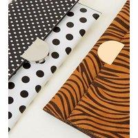 Black Contrast Polka Dot Clutch Bag New Look