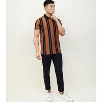 Rust Vertical Stripe Polo T-Shirt New Look