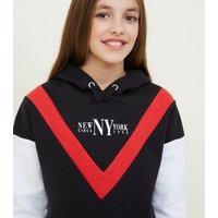 Girls Black NY Chevron Colour Block Hoodie New Look