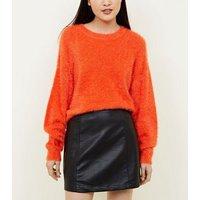 Black Faux Pocket Leather-Look Mini Skirt New Look