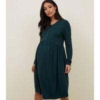 Maternity Dark Green Nursing Smock Dress New Look