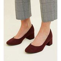 Dark Red Suedette Low Block Heel Courts New Look