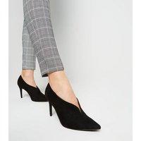 Black Suedette V Front Shoe Boots New Look