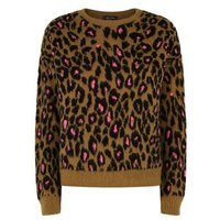 Brown Brushed Neon Leopard Print Jumper New Look
