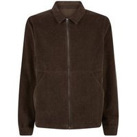 Khaki Corduroy Zip Through Shacket New Look