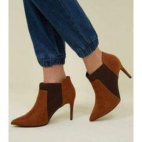 Tan Suedette Stiletto Chelsea Shoe Boots New Look