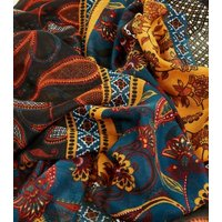 Rust Mixed Paisley and Floral Print Scarf New Look