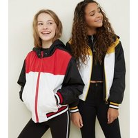 Girls Red Colour Block Padded Windbreaker New Look