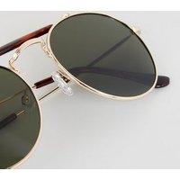 Gold Faux Tortoiseshell Brow Bar Pilot Sunglasses New Look