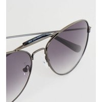 Black Pilot Sunglasses New Look