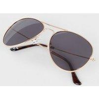 Men's Gold Tone Tinted Pilot Sunglasses New Look