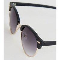 Black Round Frame Retro Sunglasses New Look