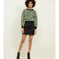 Carpe Diem Yellow Neon Leopard Print Jumper New Look