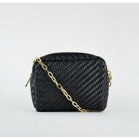 Black Woven Cross Body Bag New Look