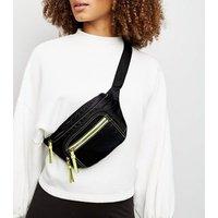 Black High Shine Neon Sports Bum Bag New Look