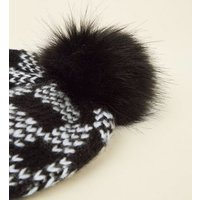Black Checkerboard Faux Fur Bobble Hat New Look