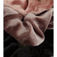 3 Pack Pink  Mink and Black Velvet Scrunchies New Look