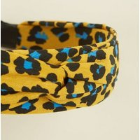 Mustard Leopard Print Knot Alice Band New Look