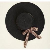 Brown Leopard Print Ribbon Floppy Hat New Look