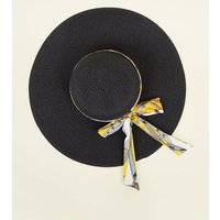 Yellow Chain Print Ribbon Floppy Hat New Look