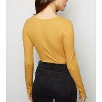 Mustard Lattice Long Sleeve Ribbed Top New Look