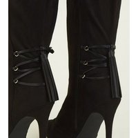 Wide Fit Black Lace Up Knee High Stiletto Boots New Look