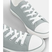 Grey Canvas Lace Up Trainers New Look Vegan