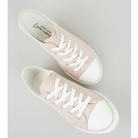 Pink Canvas Lace Up Trainers New Look Vegan