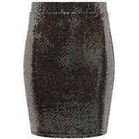Girls Black Mirrored Sequin Tube Skirt New Look